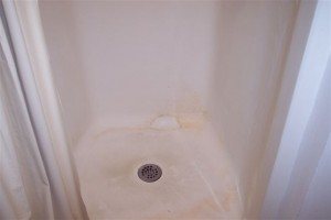 we washed this shower with heavy duty degreaser