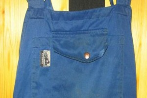 these overalls were washed with some heavy duty degreaser